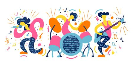 Vector flat illustration with doodle musicians. Music band plays their instruments. Bright color trendy design for print, textile, postcard, advertising, music festivals, musical groups