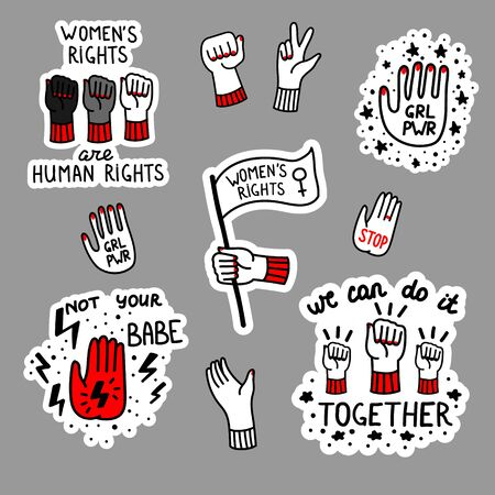 Vector hand drawn set of stickers with feminist slogan. Feminism hand drawn illustration.  Design for logo, icon, print, slogan, stickers Banco de Imagens - 130565668