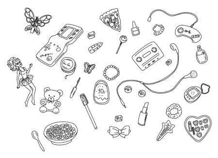 Vector illustration with a line set of things from the 90s.. 90's style vector isolated objects and graphic elements. Vetores