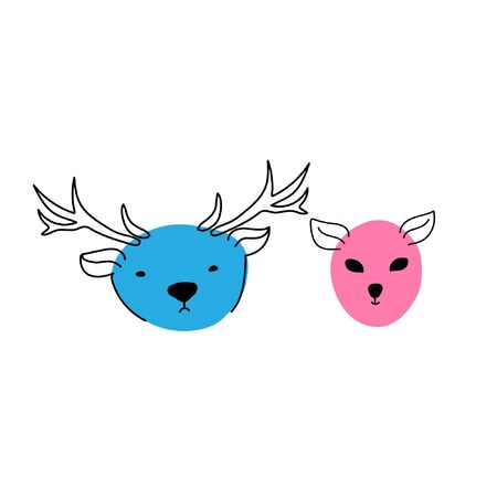Vector illustration with doodle animal. Children illustration with doodle deers. Illustration for childrens design. Doodle illustration for kids.