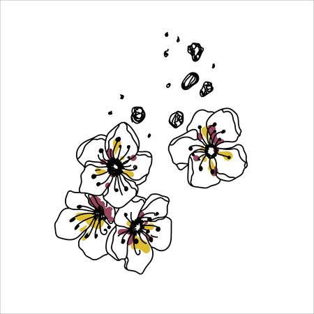 Vector ink illustration with white flowers. Ink hand drawn illustration with flowers.