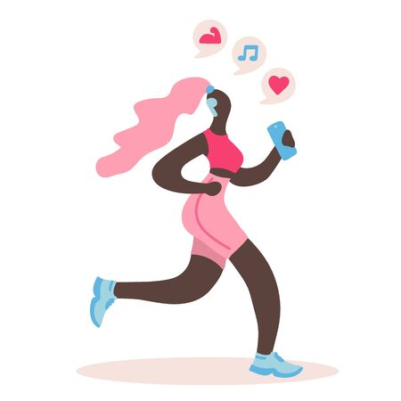 Vector flat illustration with doodle woman with a device. Woman  runs and listens to music from a smartphone. Design of a modern young woman with a mobile device Illustration