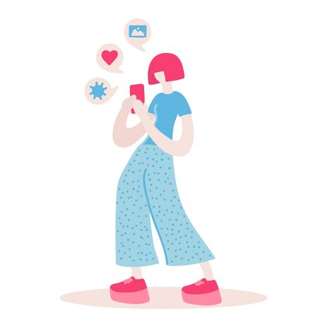 Vector flat illustration with doodle woman with a device. Woman takes a photo on a smartphone . Design of a modern young woman  with a mobile device Banque d'images - 130566248