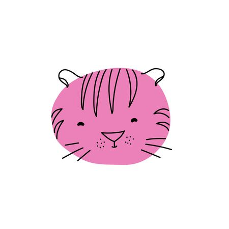 Vector illustration with doodle animal. Children illustration with doodle tiger. Illustration for childrens design. Doodle illustration for kids. Çizim