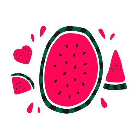 Vector flat illustration with juicy watermelons. Hand drawn watermelon on white background. Summer design for print, textile, postcard , advertising, childrens design