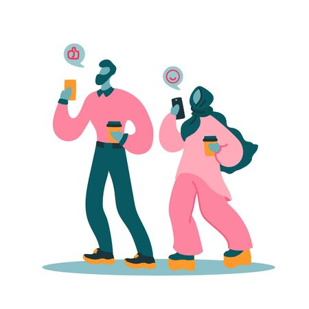 Vector flat illustration with women and men with a device. Modern woman and man use a mobile device. Couple walking and send messages. Concept of modern young people use their smartphones