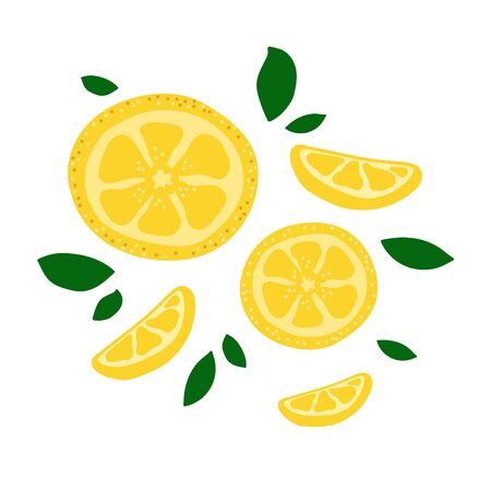 Vector flat illustration with yellow lemons. Hand drawn lemon on white background. Summer design for print, textile, postcard