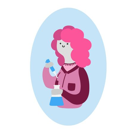 Flat vector illustration with a female scientist. Flat vector illustration with a woman in science Çizim