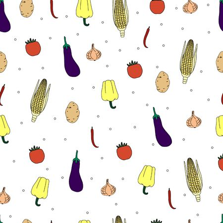 Seamless vector pattern with different vegetables. Bright design for advertising, banner, poster,  postcard, textile, wrap paper