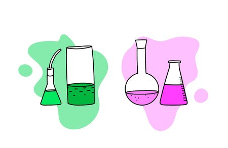 Vector illustration with a set with chemical vessels. Laboratory and Scientific Glassware 일러스트