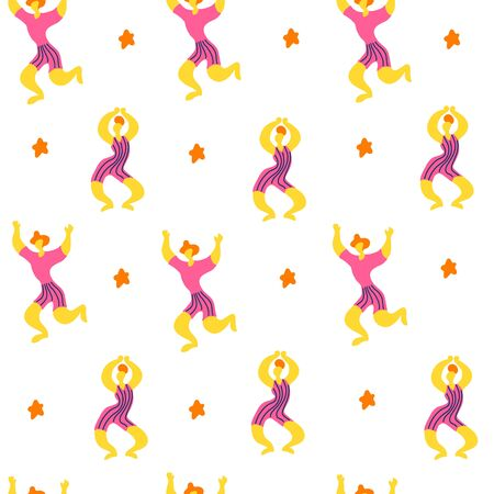 Vector seamless pattern with doodledancing woman and men. Bright color trendy design for print, textile, postcard, advertising, music festivals