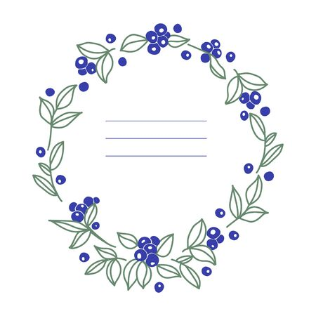 Vector illustration  with frame  of  blueberries. Blueberries and leaves on white background. Design for postcard, invitation