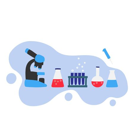 Vector illustration with a set with chemical vessels. Laboratory and Scientific Glassware Çizim
