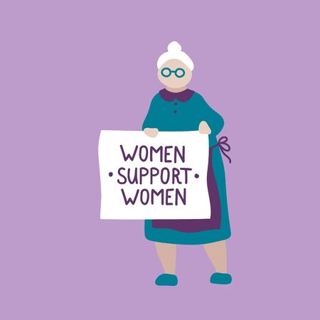 Vector hand drawn illustration feminists. Women protest and stand up for their rights. Feminism hand drawn illustration with quote. Women support women