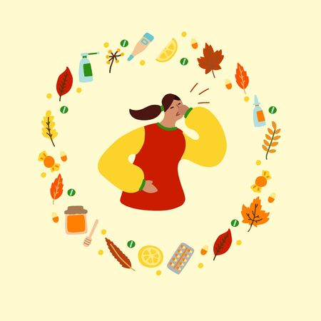 Vector flat illustration with flu woman and frame of medicines and leaves. Wreath consisting of medicines for colds and leaves. Concept of seasonal autumn flu woman, cold woman and medication