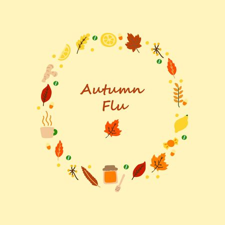 Vector flat illustration with frame consisting of medicines for colds and leaves. Concept of seasonal autumn flu, cold and medication. Medicines, autumn leaves in a frame Illusztráció