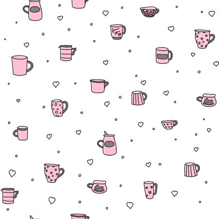 Vector seamless pattern with set of color doodle cups. Bright color cups on background