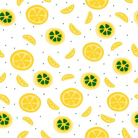 Vector flat seamless pattern with yellow lemons. Endless print with hand drawn lemon on white background. Summer design for print, textile, postcard