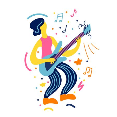 Vector flat illustration with doodle guitar player. Guitarist plays his instruments. Bright color trendy design for print, textile, postcard, advertising, music festivals, musical groups