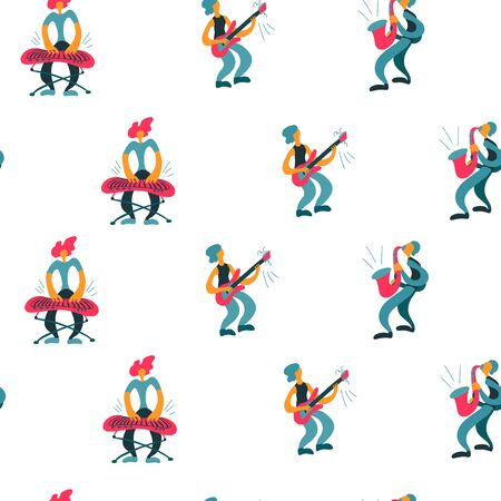 Vector flat seamless pattern with doodle musicians. Endless print with hand drawn  music band plays their instruments. Bright color trendy design for print, textile, postcard, music festivals, musical groups