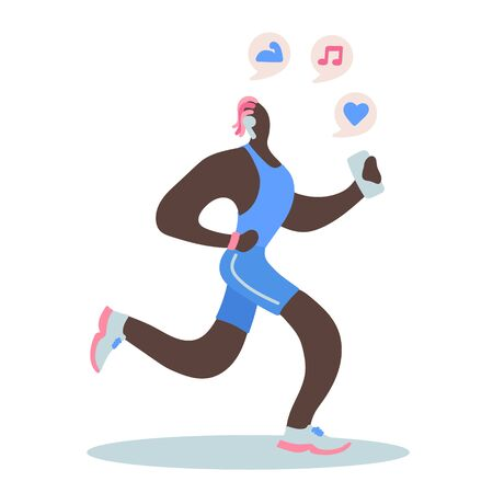 Vector flat illustration with doodle  man with a device. Man  runs and listens to music from a smartphone. Design of a modern young man with a mobile device and headphones Illustration