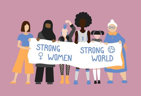 Vector hand drawn illustration feminists. Women protest and stand up for their rights. Feminism hand drawn illustration with quote. Strong women strong world Çizim