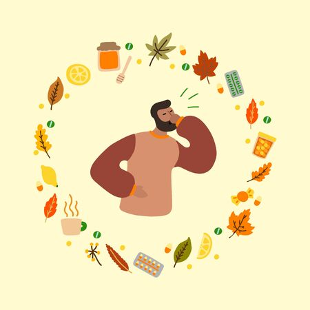 Vector flat illustration with flu man and frame of medicines and leaves. Wreath consisting of medicines for colds and leaves. Concept of seasonal autumn flu man, cold man and medication Stock Illustratie