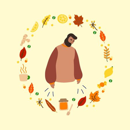 Vector flat illustration with flu man and frame of medicines and leaves. Wreath consisting of medicines for colds and leaves. Concept of seasonal autumn flu man, cold man and medication Illusztráció