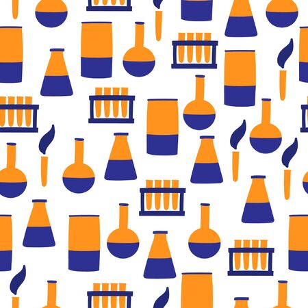 Vector seamless pattern with chemical vessels. Vector pattern with Laboratory and Scientific Glassware Çizim