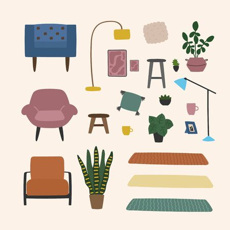 Vector hand drawn illustration with interior for living room. Modern furniture illustration isolated on white background. Collection of different furniture to create a living room interior. Eco style interior Ilustração