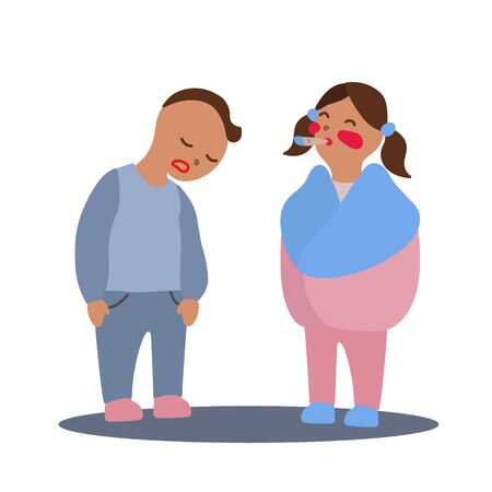 Vector flat illustration with couple of boy and girl with flu or cold symptoms. A boy has a weakness and a girl has a fever. A couple of kids having a cold together
