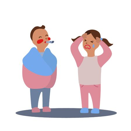 Vector flat illustration with couple of boy and girl with flu or cold symptoms. A boy has a fever and a girl has a headache. A couple of kids having a cold together