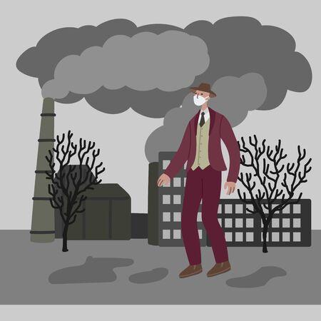 Illustrazione disegnata a mano di vettore con gli uomini in maschera. Uomo che indossa una maschera contro lo smog. I camini del paesaggio urbano emettono fumo emissioni nocive aria inquinata scarsa ecologia in città. Concetto di inquinamento atmosferico
