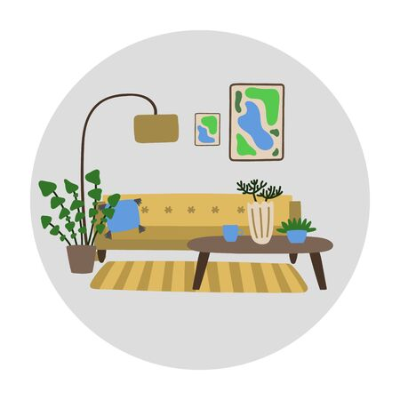 Vector hand drawn illustration with interior for living room. Modern furniture is located in the room. Concept of modern interior design