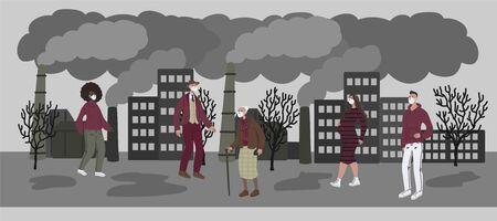 Illustrazione disegnata a mano di vettore con donne e uomini in maschera. Persone che indossano una maschera contro lo smog e camminano per strada. I camini del paesaggio della città emettono fumo emissioni nocive aria inquinata scarsa ecologia in città. Inquinamento atmosferico nel concetto di città moderna