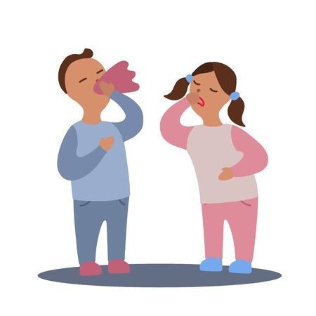 Vector flat illustration with couple of boy and girl with flu or cold symptoms. A boy has a runny nose and a girl has a cough. A couple of kids having a cold together Illustration