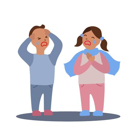 Vector flat illustration with couple of boy and girl with flu or cold symptoms. A boy has a headache and a girl has a sore throat. A couple of kids having a cold together