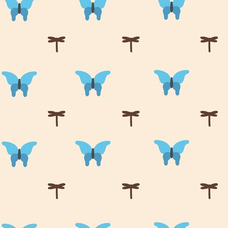 Vector seamless pattern with blue butterfly and brown dragonfly. Endless print with different lepidopteran insects.