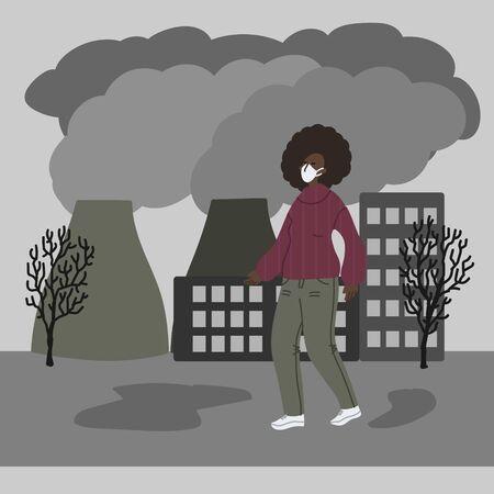 Vector hand drawn illustration with women in mask. Woman wearing mask against smog. City landscape chimneys emit smoke harmful emissions polluted air poor ecology in the city. Air pollution concept