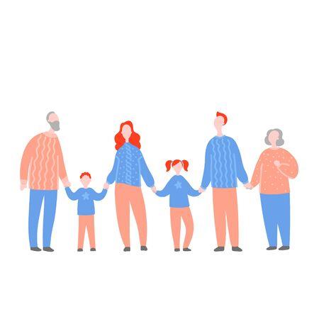 Ilustración de vector plano moderno con familia feliz. Abuelos, padres con hijos tomados de la mano. Concepto de familia, valores familiares, apoyo y conexiones en las familias