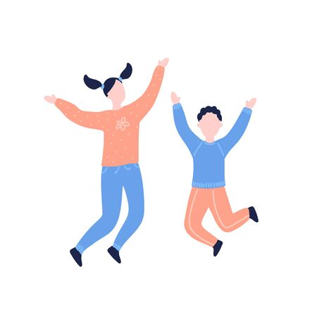 Modern flat vector illustration with happy family. Children jump, delight, joy, victory. Sister and brother jumping. Concept of family, family values, support and connections in families