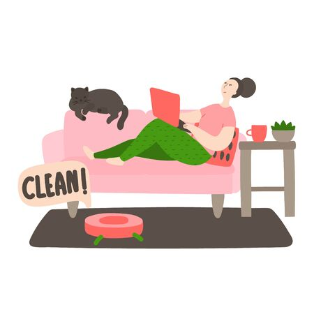Happy young cleans the house. Robot vacuum cleaner vacuuming the living room floors. Daily life and routine by young woman at home. Flat cartoon vector illustration 일러스트