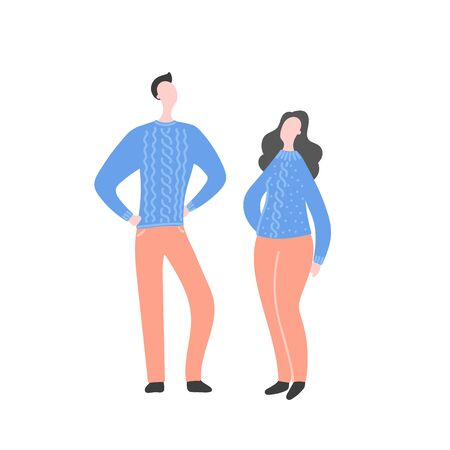 Modern flat vector illustration with happy couple. Man with woman standing together. Character design of couple, family values, support and connections in families