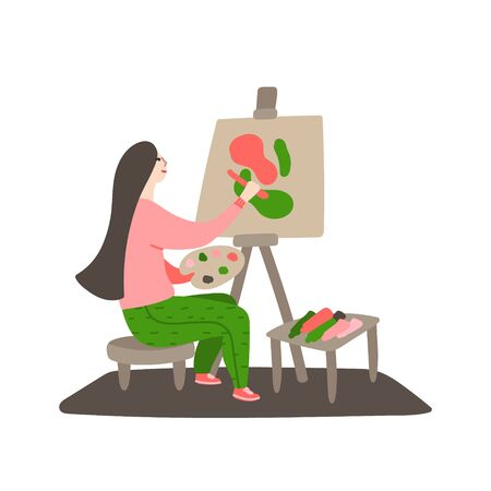 Daily life and routine by young woman. Girl paints a picture on canvas. Female artist painting art picture. Concept of a creative hobby. Flat cartoon vector illustration Ilustracja