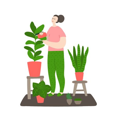 Girl caring for plants. Woman washes a plant with a sponge. Daily life and routine by young woman at home. Flat cartoon vector illustration