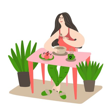 Happy young girl eating her breakfast and drinking coffee early in the morning. Daily life and routine by young woman at home. Flat cartoon vector illustration