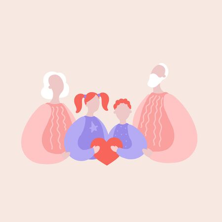 Modern flat vector illustration with grandparents and grandchildren. Grandfather, grandmother, granddaughter and grandson hold the heart of the family. Concept of family, family values, support and connections in families