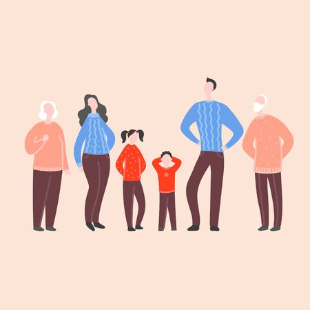 Modern flat vector illustration with happy family. Grandparents, parents with children standing together. Concept of family, family values, support and connections in families 向量圖像