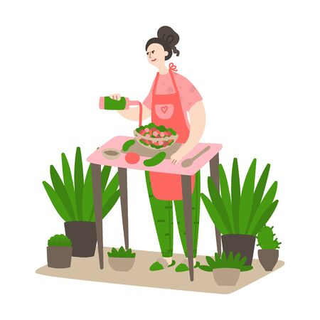 Happy young girl cooks in the kitchen. Woman preparing a meal in the kitchen. Daily life and routine by young woman at home. Flat cartoon vector illustration 向量圖像