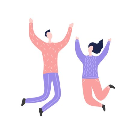 Modern flat vector illustration with happy family. Man and woman jump, delight, joy, victory. Concept of family, family values, support and connections in families
